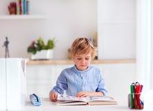Muchacho, muchacho que lee un libro mientras que se sienta en el escritorio en casa Imagen de archivo libre de regalías