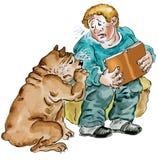 Muchacho que lee un libro triste así como su perro ilustración del vector