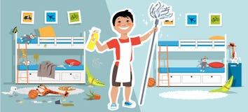 Muchacho que limpia su sitio antes y después libre illustration