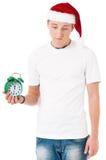 Muchacho que lleva el sombrero de Santa Claus Fotos de archivo libres de regalías