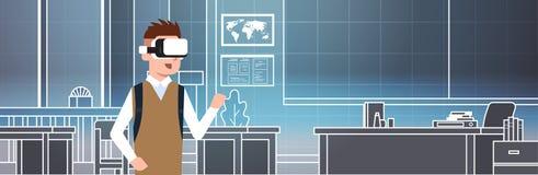Muchacho que lleva los vidrios 3d en concepto de la educación de la realidad virtual de la escuela de Vr del alumno de la sala de libre illustration