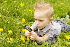 Muchacho que mira a través de una lupa en la hierba Foto de archivo