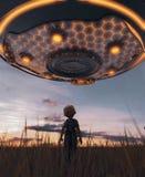 Muchacho que mira un platillo del UFO ilustración del vector