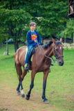 Muchacho que monta un caballo Imagen de archivo