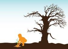 Muchacho que planta árboles Imágenes de archivo libres de regalías