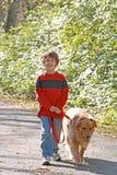 Muchacho que recorre el perro Imagen de archivo libre de regalías