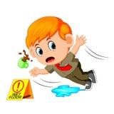 Muchacho que se desliza en piso mojado libre illustration