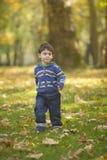 Muchacho que se ejecuta en el bosque Foto de archivo