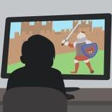 Muchacho que se sienta delante de historieta de la pantalla del videojuego stock de ilustración