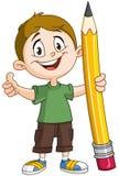 Muchacho que sostiene el lápiz grande stock de ilustración