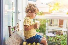 Muchacho que sostiene un smoothie del plátano Imagen de archivo libre de regalías