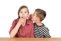 Muchacho que susurra algo a su hermana asombrosa With Eyes Wide abierto aislado en blanco Foto de archivo libre de regalías