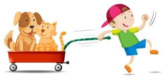 Muchacho que tira del carro con el perro y el gato en él libre illustration