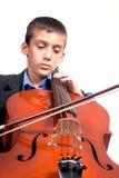 Muchacho que toca el violoncelo Imágenes de archivo libres de regalías