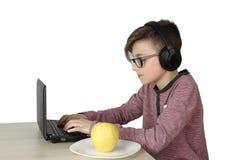 Muchacho que trabaja en la computadora portátil Imagen de archivo libre de regalías