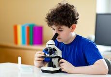 Muchacho que usa el microscopio Imagen de archivo libre de regalías