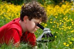 Muchacho que usa el microscopio al aire libre Fotografía de archivo