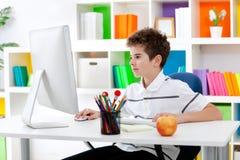 Muchacho que usa el ordenador Imagenes de archivo