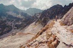 Muchacho que va de excursión en las montañas Foto de archivo libre de regalías