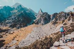 Muchacho que va de excursión en las montañas Imágenes de archivo libres de regalías
