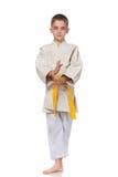 Muchacho serio confidente en kimono Foto de archivo libre de regalías