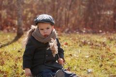 Muchacho serio de dos años que se sienta en una hierba Foto de archivo libre de regalías