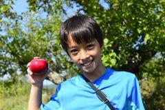 Muchacho sonriente con la manzana fresca Fotografía de archivo