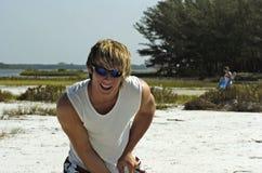 Muchacho sonriente de la playa Imagen de archivo
