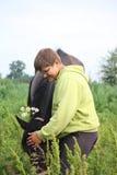 Muchacho sonriente del adolescente con los caballos en el campo Fotografía de archivo