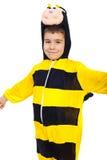 Muchacho sonriente en equipo de la abeja Fotografía de archivo