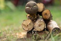 Muchacho sucio en un registro de la madera Foto de archivo