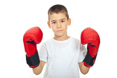 Muchacho triste con los guantes de boxeo Foto de archivo libre de regalías