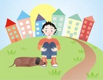 Muchacho triste con su perro ilustración del vector
