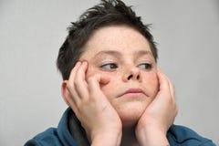 Muchacho triste del adolescente Fotografía de archivo libre de regalías