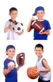 Muchacho y bolas de los deportes fotos de archivo libres de regalías