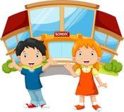 Muchacho y chica joven jovenes delante de la escuela stock de ilustración