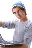 Muchacho y computadora portátil 4 Foto de archivo