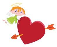 Muchacho y corazón del ángel Imagen de archivo libre de regalías