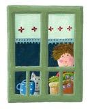 Muchacho y gato que miran a través de la ventana Imagenes de archivo