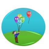 Muchacho y globos Imagen de archivo