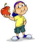 Muchacho y manzana ilustración del vector