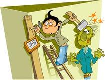 Muchacho y martillo Foto de archivo libre de regalías