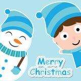 Muchacho y muñeco de nieve lindos en el cartón azul del fondo para la postal de Navidad, papel pintado, tarjeta de felicitación Foto de archivo