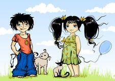 Muchacho y muchacha Imagen de archivo libre de regalías