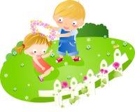 Muchacho y muchacha stock de ilustración