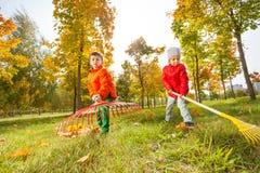 Muchacho y muchacha con dos rastrillos que trabajan junto imagen de archivo libre de regalías