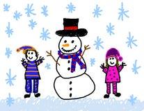 Muchacho y muchacha con el gráfico del muñeco de nieve libre illustration