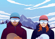 Muchacho y muchacha con la snowboard al aire libre Imagenes de archivo