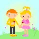 Muchacho y muchacha con las mariquitas Fotografía de archivo