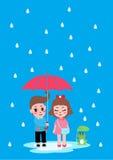 Muchacho y muchacha con lluvia Fotos de archivo